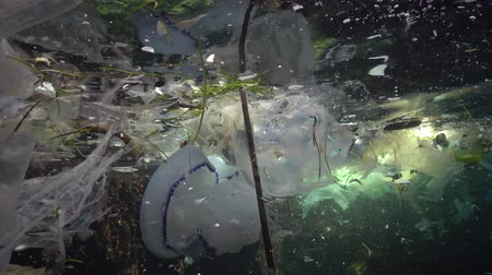 plastics : Plastic garbage and other debris floating underwater. Marine pollution. Plastic debris in the water, killing wildlife