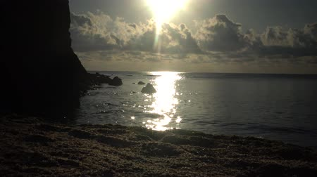 bulgary : Rocky coast on the Black Sea, the reflection of the sun in the water, Bulgaria, Tyulenovo Stock Footage