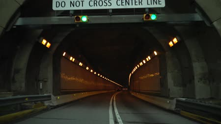 road tunnel : Tunnel in the Kittatinny mountain, video from the car, Pennsylvania Turnpike, USA
