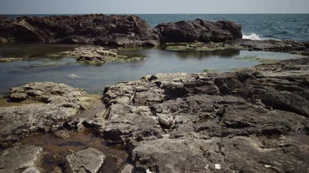 skalnatý : Coastal baths on a rocky shore near the water on the Black Sea, Bulgaria