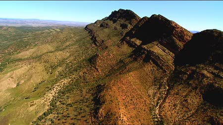 marys : Aerial footage of rugged out back Australian mountain ranges, creeks, peaks, desert and Mallee areas. Flinders Ranges Area, featuring Wilpena Pound, Arkaroola, St Marys Peak