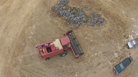 slashing : Over Head Aerial footage of vintage harvester being checked before Harvest