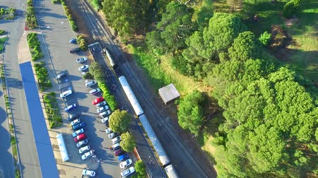 lokomotif : Aerial footage of classic historical railway vintage steam train locomotive SteamRanger Steam Ranger climbing hill after travel in Adelaide Hills and countryside for South Australian Tourism Stok Video
