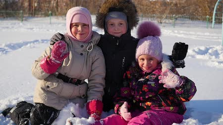 сестра : happy children hugged each other and smile in the winter park Стоковые видеозаписи