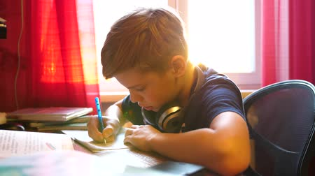 estudioso : Boy sitting at school Desk and does the job. School education. The suns rays through the glass.