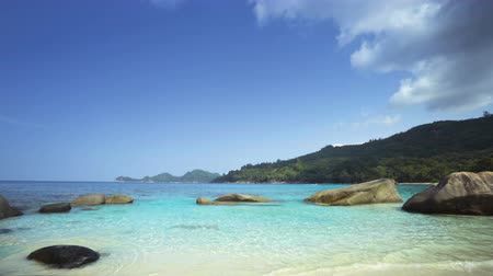 takamaka : tropical beach, Mahe island, Seychelles Stock Footage