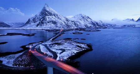 İskandinavya : Olstind Mount and bridges, aerial view. Lofoten islands, Norway Stok Video