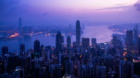 victoria : timelapse, sunrise from Victoria peak, Hong kong Stock Footage
