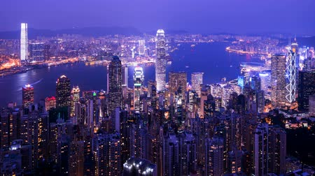 hong kong : timelapse, sunset from Victoria peak, Hong kong Stock Footage