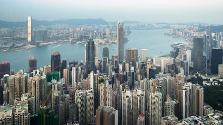 port n : timelapse, sunset from Victoria peak, Hong kong Stock Footage