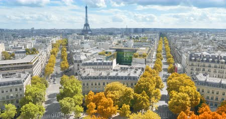 triumphal arch : Paris in autumn color, Champs Elysees and the Eiffel Tower