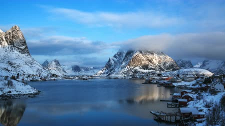 fishing village : timelapse, snow in the Reine Village, Lofoten Islands, Norway