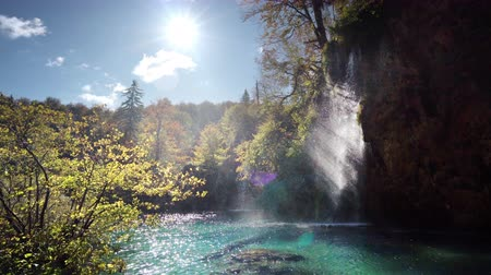 plitvice : autumn waterfall in forest Plitvice Lakes National Park, Croatia Stock Footage