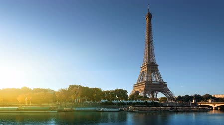 eiffel : Seine in Paris with Eiffel tower in autumn time