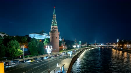 winter palace : Moscow Kremlin hyper lapse, Embankment and Moscow River, Russia Stock Footage