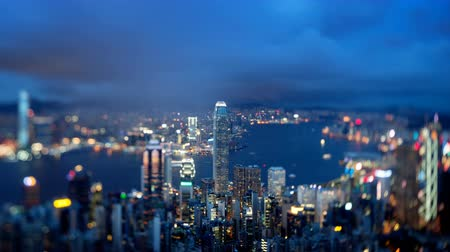 homály : Hong Kong from Victoria peak, ltilt shift time lapse