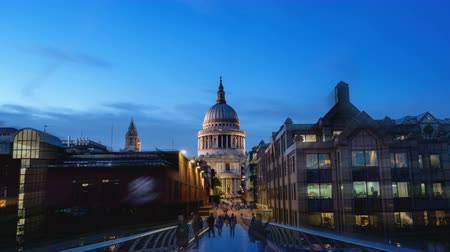 millennium : hyper lapse, St. Pauls cathedral and Millennium Bridge in sunset time, London, UK