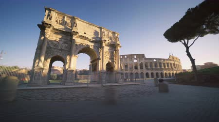 arch of constantine : hyper lapse, Colosseum and Constantine arch at sunrise in Rome, Italy