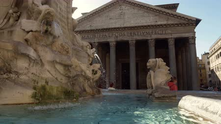 barok : fountain and pantheon, Rome, Italy Wideo