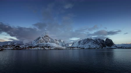 arctic bird : sunrise at Reine Village, timelapse, Lofoten Islands, Norway