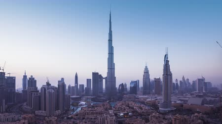 futuro : sunrise timelapse, downtown of Dubai, UAE