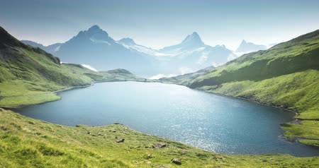 picturesque view : Schreckhorn and Wetterhorn from Bachalpsee lake, Bernese Oberland, Switzerland