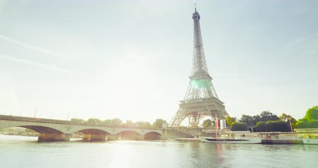 sunset city : Eiffel tower and sunny morning, Paris, France Stock Footage
