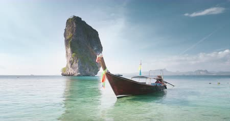 beautiful tail : wooden longtail boat at Koh Poda island in Krabi province. Ao Nang, Thailand