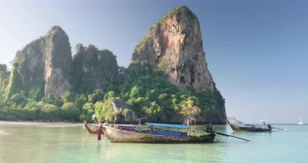strand : boats at ralay beach, Krabi, Thailand