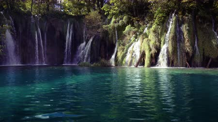 hluboký : waterfall in forest Plitvice Lakes National Park, Croatia