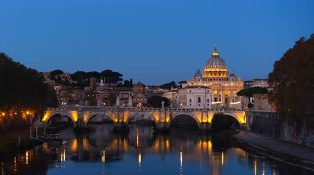 rzym : hyper lapse of St. Peters Basilica, Sant Angelo Bridge, Vatican, Rome, Italy