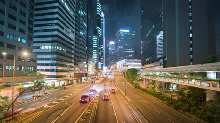 wide lens : hyper lapse, traffic in Hong Kong at sunset time, ultra wide lens