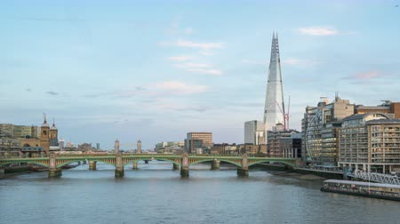 capital cities : hyper lapse of sunset, London skyline from Millennium bridge, UK Stock Footage