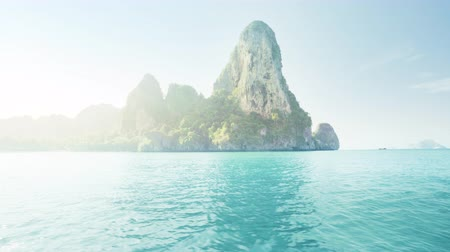 tropy : motion on longtail boat, railay beach, Krabi, Thailand