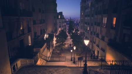 Montmartre staircase in Paris, France Wideo