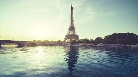 sunrise light : Eiffel tower and sunny morning, Paris, France Stock Footage