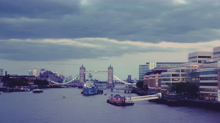 anglia : hyper lapse of Tower Bridge at sunset, London, UK