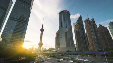 tv tower : time lapse of sunset, Shanghai Lujiazui financial center, China Stock Footage