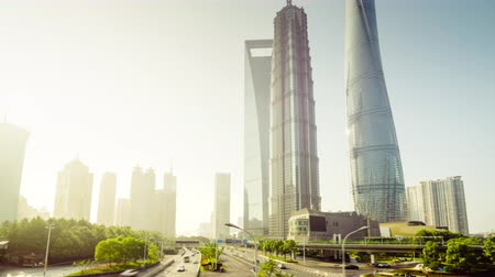 tv tower : hyper lapse, road in Shanghai Lujiazui financial center, China