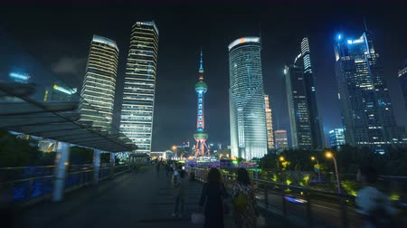 perły : hyper lapse of sunset, Shanghai Lujiazui financial center, China Wideo