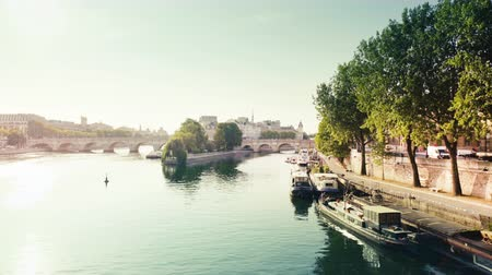 sunrise light : View from the Pont des Arts on old bridge across the Seine river in Paris
