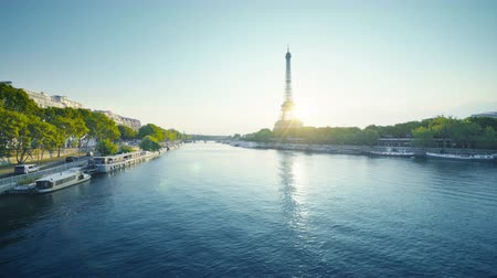 eifel : Eiffel tower and sunny morning, Paris, France Stock Footage