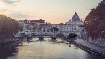 time lapse of St. Peters Basilica, Sant Angelo Bridge, Vatican, Rome, Italy 무비클립