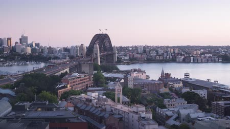 dark bay : timelapse Aerial view of Sydney with Harbour Bridge, Australia Stock Footage