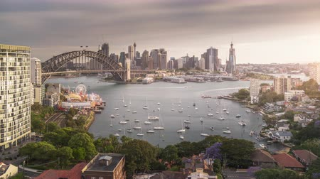 kirribilli : sunset, time lapse of Sydney harbor, New South Wales, Australia