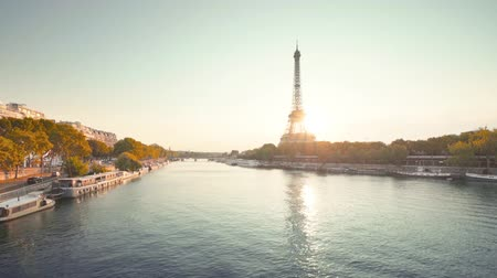 Eiffel tower and sunny morning, Paris, France 무비클립