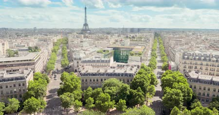 panoramic view of Paris, Champs Elysees and the Eiffel Tower Vídeos