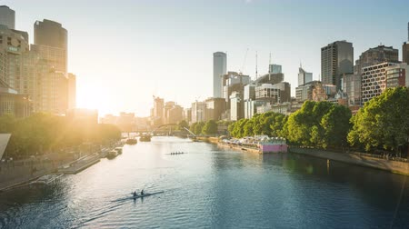 lapso : timelapse of sunset, Yarra River, Melbourne, Victoria, Australia