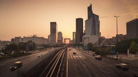 timelapse, Paris LaDefense at sunset