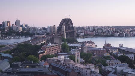 timelapse Aerial view of Sydney with Harbour Bridge, Australia Vídeos